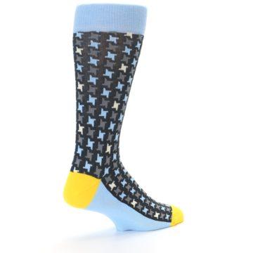 Image of Light Blue Grey Houndstooth Men's Dress Socks (side-1-back-22)