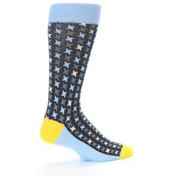 Image of Light Blue Grey Houndstooth Men's Dress Socks (side-1-23)