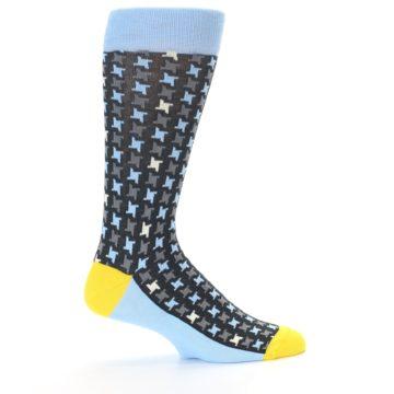 Image of Light Blue Grey Houndstooth Men's Dress Socks (side-1-24)