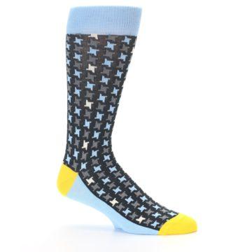 Image of Light Blue Grey Houndstooth Men's Dress Socks (side-1-25)