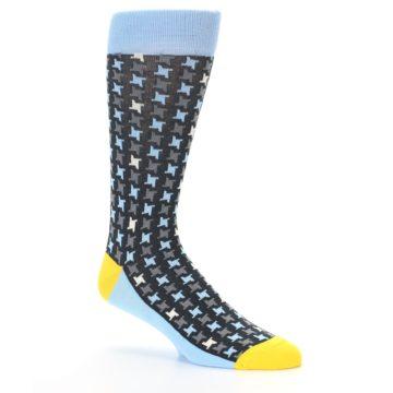 Image of Light Blue Grey Houndstooth Men's Dress Socks (side-1-26)