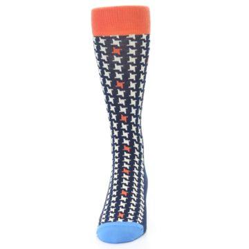 Image of Navy Orange Houndstooth Men's Dress Socks (front-05)