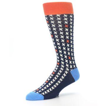 Image of Navy Orange Houndstooth Men's Dress Socks (side-2-09)