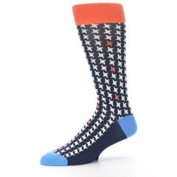 Image of Navy Orange Houndstooth Men's Dress Socks (side-2-10)