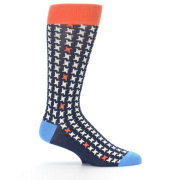 Image of Navy Orange Houndstooth Men's Dress Socks (side-1-25)