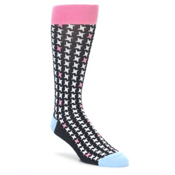 Houndstooth Wedding Socks - Black and White and Pink by Statement Sockwear