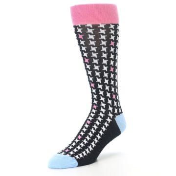 Image of Pink Black White Houndstooth Men's Dress Socks (side-2-front-08)