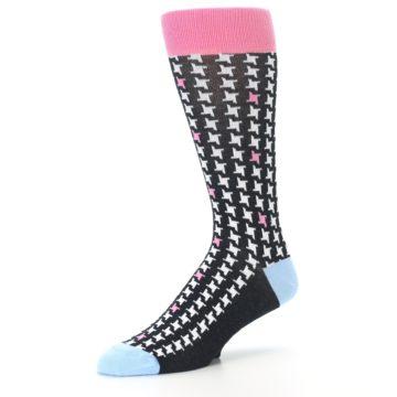 Image of Pink Black White Houndstooth Men's Dress Socks (side-2-09)