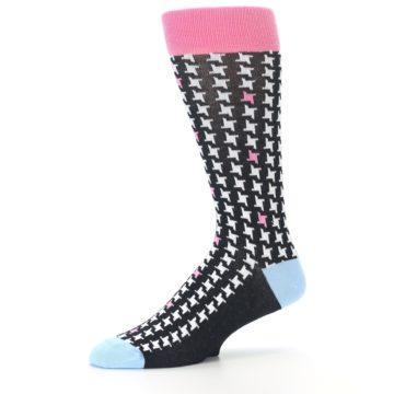 Image of Pink Black White Houndstooth Men's Dress Socks (side-2-10)