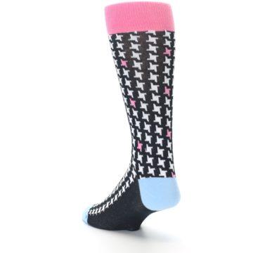 Image of Pink Black White Houndstooth Men's Dress Socks (side-2-back-15)