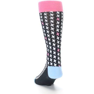 Image of Pink Black White Houndstooth Men's Dress Socks (side-2-back-16)