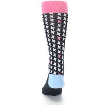Image of Pink Black White Houndstooth Men's Dress Socks (back-17)