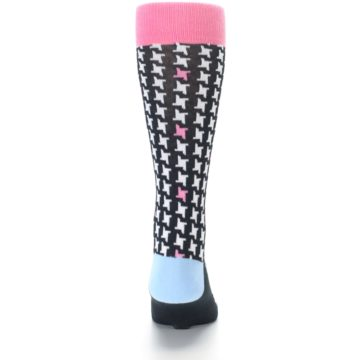 Image of Pink Black White Houndstooth Men's Dress Socks (back-18)