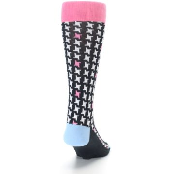 Image of Pink Black White Houndstooth Men's Dress Socks (back-19)