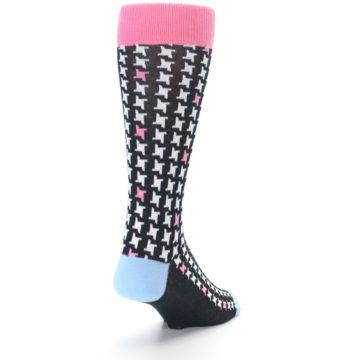 Image of Pink Black White Houndstooth Men's Dress Socks (side-1-back-20)