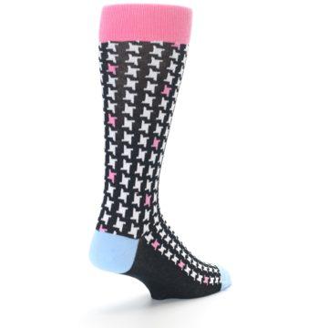 Image of Pink Black White Houndstooth Men's Dress Socks (side-1-back-21)