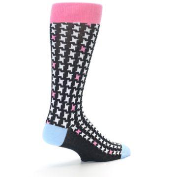 Image of Pink Black White Houndstooth Men's Dress Socks (side-1-back-22)