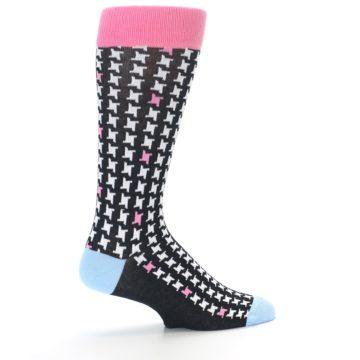 Image of Pink Black White Houndstooth Men's Dress Socks (side-1-23)