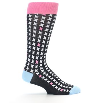 Image of Pink Black White Houndstooth Men's Dress Socks (side-1-24)