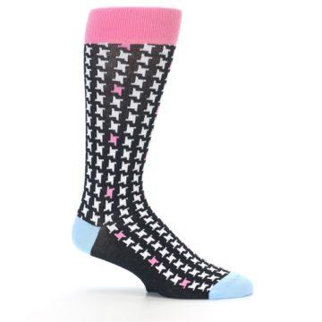 Image of Pink Black White Houndstooth Men's Dress Socks (side-1-25)