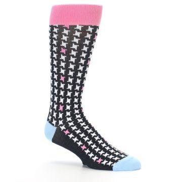 Image of Pink Black White Houndstooth Men's Dress Socks (side-1-26)