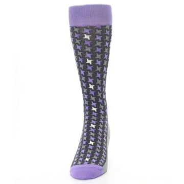 Image of Purple Grey Houndstooth Men's Dress Socks (front-05)