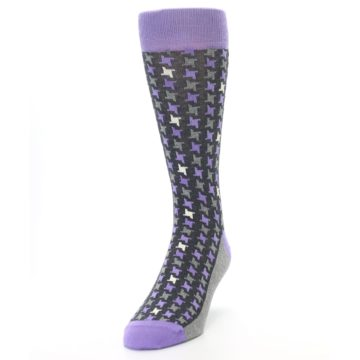 Image of Purple Grey Houndstooth Men's Dress Socks (side-2-front-06)