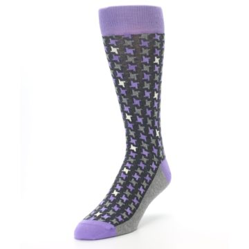 Image of Purple Grey Houndstooth Men's Dress Socks (side-2-front-07)