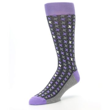 Image of Purple Grey Houndstooth Men's Dress Socks (side-2-front-08)