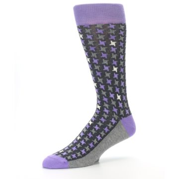 Image of Purple Grey Houndstooth Men's Dress Socks (side-2-09)