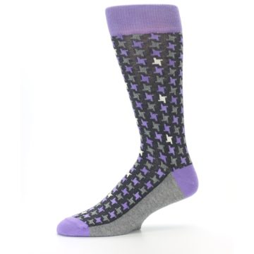 Image of Purple Grey Houndstooth Men's Dress Socks (side-2-10)