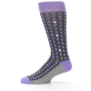 Image of Purple Grey Houndstooth Men's Dress Socks (side-2-11)