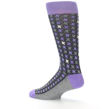 Image of Purple Grey Houndstooth Men's Dress Socks (side-2-13)