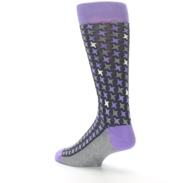 Image of Purple Grey Houndstooth Men's Dress Socks (side-2-back-14)