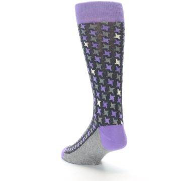 Image of Purple Grey Houndstooth Men's Dress Socks (side-2-back-15)