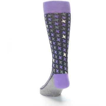 Image of Purple Grey Houndstooth Men's Dress Socks (side-2-back-16)