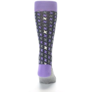 Image of Purple Grey Houndstooth Men's Dress Socks (back-18)