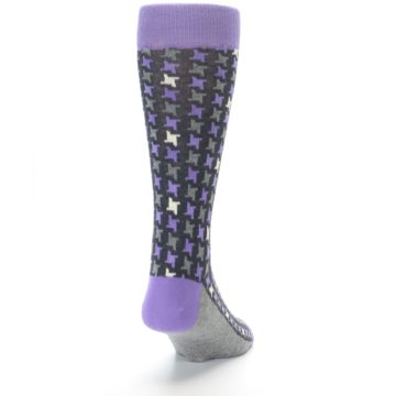 Image of Purple Grey Houndstooth Men's Dress Socks (back-19)
