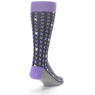 Image of Purple Grey Houndstooth Men's Dress Socks (side-1-back-20)
