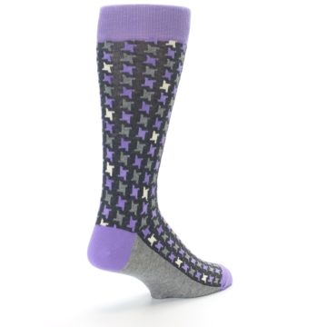 Image of Purple Grey Houndstooth Men's Dress Socks (side-1-back-21)