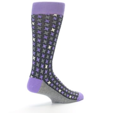 Image of Purple Grey Houndstooth Men's Dress Socks (side-1-back-22)