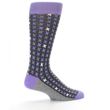 Image of Purple Grey Houndstooth Men's Dress Socks (side-1-23)