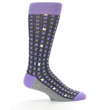 Image of Purple Grey Houndstooth Men's Dress Socks (side-1-24)