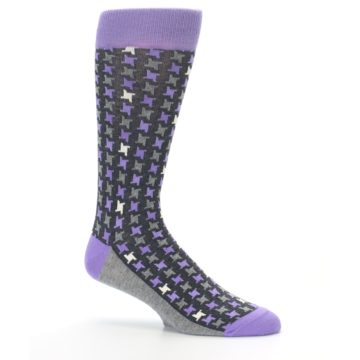 Image of Purple Grey Houndstooth Men's Dress Socks (side-1-25)