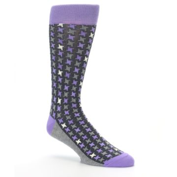 Image of Purple Grey Houndstooth Men's Dress Socks (side-1-26)
