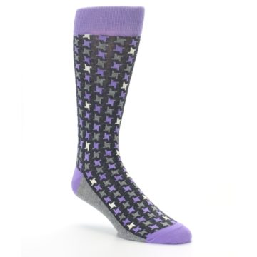Image of Purple Grey Houndstooth Men's Dress Socks (side-1-27)