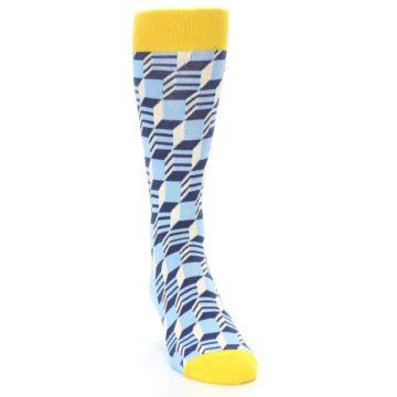 Image of Light Blue Yellow Optical Men's Dress Socks (side-1-front-03)