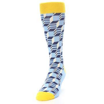 Image of Light Blue Yellow Optical Men's Dress Socks (side-2-front-06)
