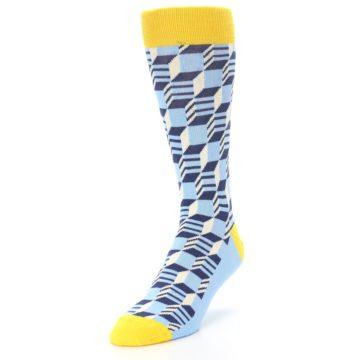 Image of Light Blue Yellow Optical Men's Dress Socks (side-2-front-07)