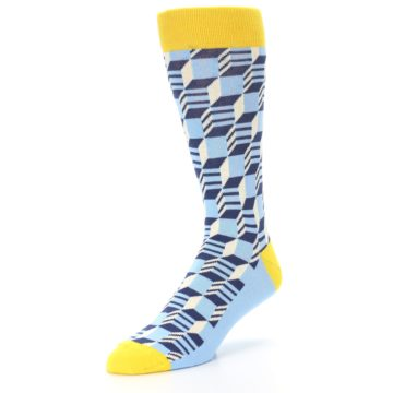 Image of Light Blue Yellow Optical Men's Dress Socks (side-2-front-08)